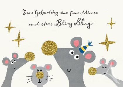 """Postkarte """"Zum Geburtstag ein paar Mäuse..."""""""