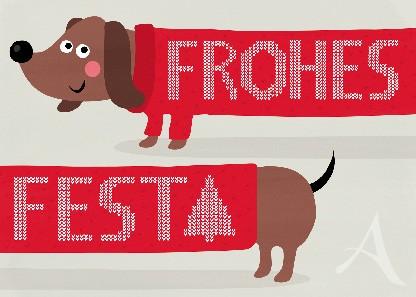"Postkarte ""Frohes Fest"" (Dackel)"