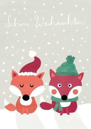 """Postkarte """"Schöne Weihnachten"""" (Füchse)"""