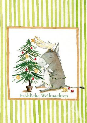 """Postkarte """"Fröhliche Weihnachten (Esel mit Gans)"""""""