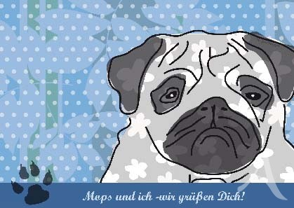 """Postkarte """"Mops und ich"""""""