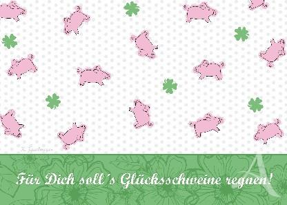 """Postkarte """"Glücksschweine"""" -- FAST VERGRIFFEN !"""