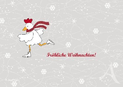 "Postkarte ""Schlittschuhhuhn"""