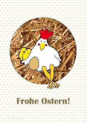 "Postkarte ""Frohe Ostern (Huhn)"""