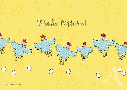 """Postkarte """"Frohe Ostern (Hühner)"""""""