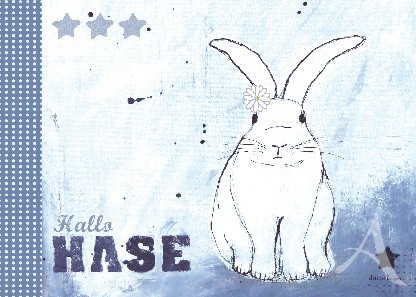 "Postkarte ""Hallo Hase (Hase mit Blume)"""