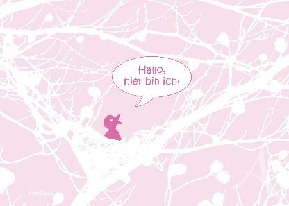 "Postkarte ""Hallo, hier bin ich! (rosa)"""