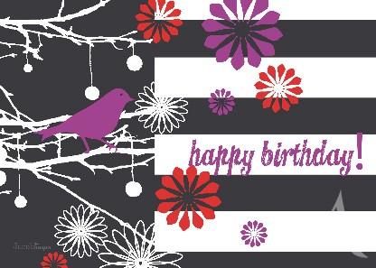 """Postkarte """"Happy Birthday! (Vogel)"""""""