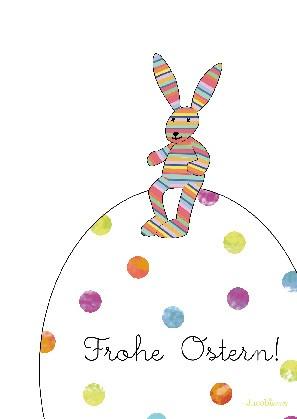 "Postkarte ""Frohe Ostern! (Hase auf Ei)"""