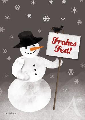 """Postkarte """"Frohes Fest! (Schneemann)"""""""