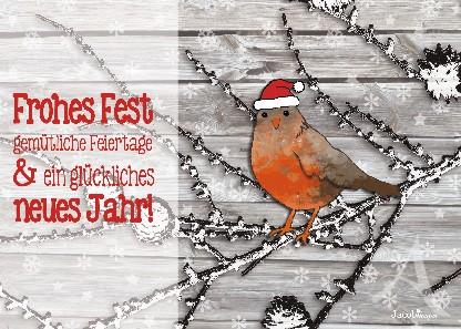 """Postkarte """"Frohes Fest (Rotkehlchen)"""""""