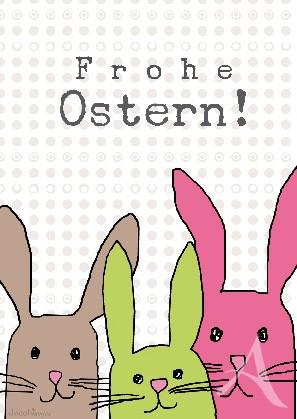 "Postkarte ""Frohe Ostern! (3 Hasen)"""