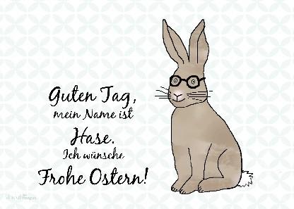 """Postkarte """"Guten Tag, mein Name ist Hase..."""""""