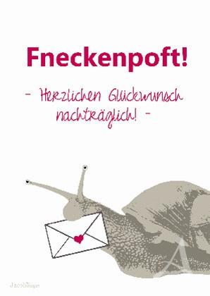 """Postkarte """"Fneckenpoft"""" - Herzlichen Glückwunsch nachträglich !"""
