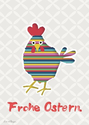 "Postkarte ""Frohe Ostern (Buntes Huhn)"""