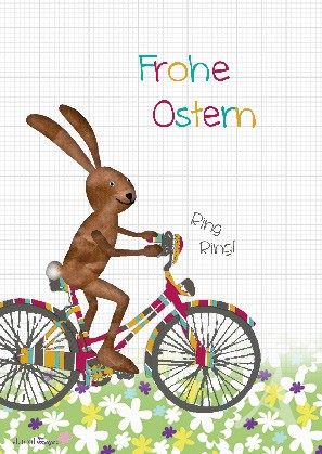 """Postkarte """"Frohe Ostern (Hase auf Fahrrad)"""""""