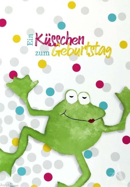 """Postkarte - """"Ein Küsschen zum Geburtstag"""" - (Frosch)"""