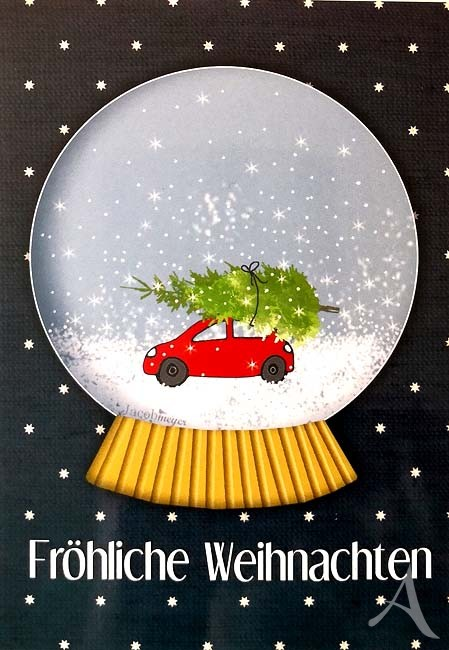 """Postkarte """"Fröhliche Weihnachten"""" (Schneekugel)"""