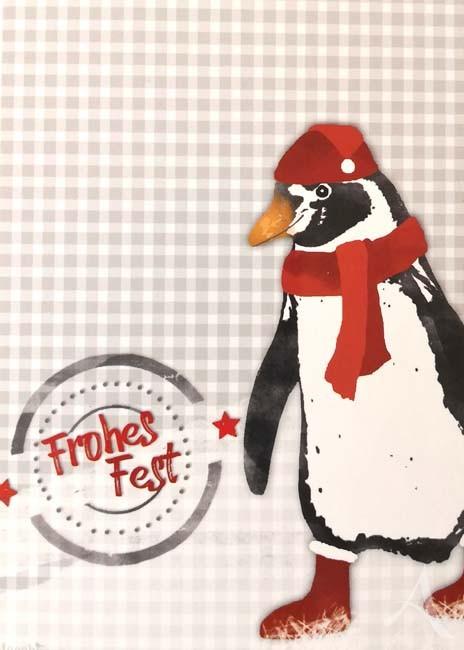 "Postkarte ""Frohes Fest (Pinguin)"