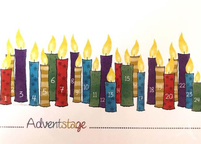 "Postkarte ""Adventstage"" (Kerzen im Advent)"
