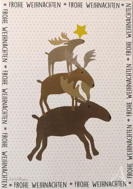 """Postkarte """"Frohe Weihnachten"""" (Elche"""
