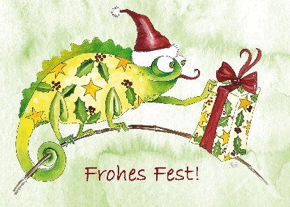 "Postkarte ""Frohes Fest! (Chamäleon)"""
