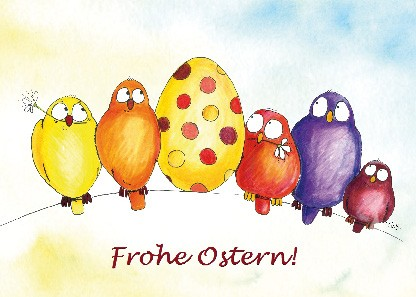 "Postkarte ""Frohe Ostern! (Vögel mit Ei)"""