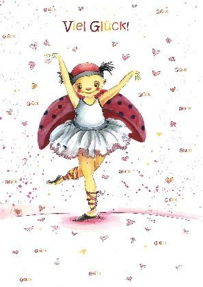 "Postkarte ""Viel Glück! (Ballerina)"""