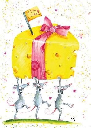 """Postkarte """"Für Dich! (Mäuse mit Käse)"""""""