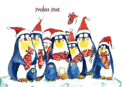 "Postkarte ""Frohes Fest! (Pinguine)"""