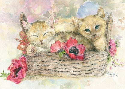 "Postkarte ""Kätzchen im Korb"""