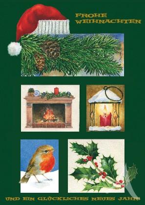 """Postkarte """"Frohe Weihnachten und ein glückliches Neues..."""""""