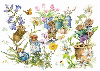 "Postkarte ""Mäuse im Garten"""