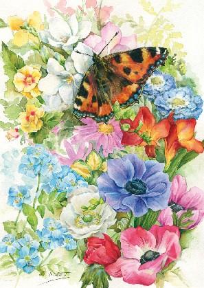 """Postkarte """"Schmetterling auf Blumen"""""""