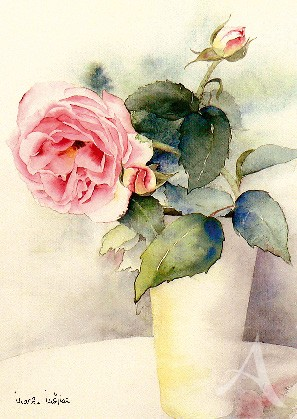 "Postkarte ""Rose in Vase"""
