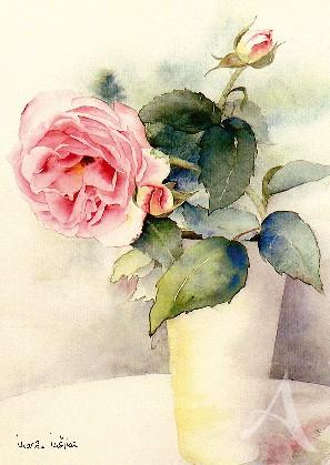 """Postkarte """"Rose in Vase"""""""