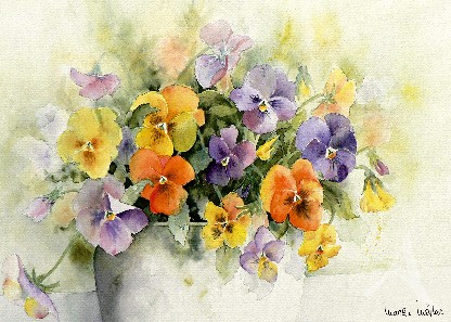 "Postkarte ""Stiefmütterchen in Vase"""
