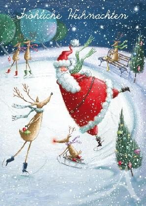 """Postkarte """"Fröhliche Weihnachten (Schlittschuhlauf)"""""""