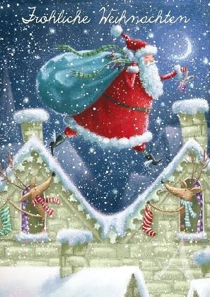 """Postkarte """"Fröhliche Weihnachten (auf den Dächern)"""""""