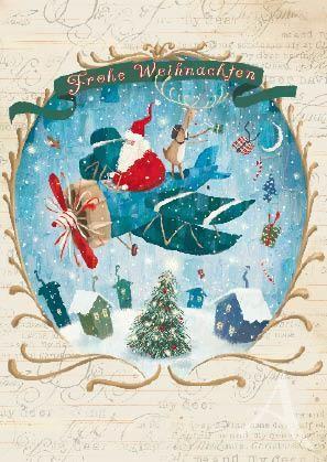 """Postkarte """"Frohe Weihnachten (Flugzeug)"""""""