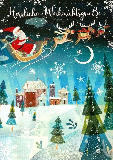 """Postkarte """"Herzliche Weihnachtsgrüße"""" - (Weihnachtsmann im Schlitten)"""