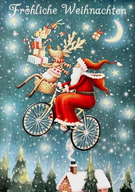 """Postkarte """"Fröhliche Weihnachten"""" (Fahrrad)"""