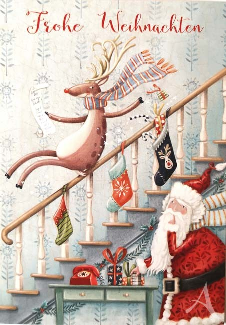 """Postkarte """"Frohe Weihnachten"""" (Treppe)"""