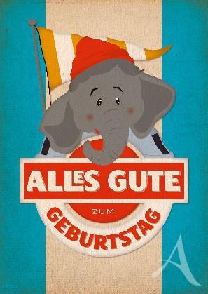 "Postkarte ""Geburtstag (Elefant)"""