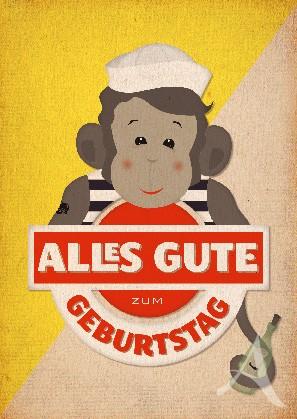 """Postkarte """"Geburtstag (Affe)"""""""