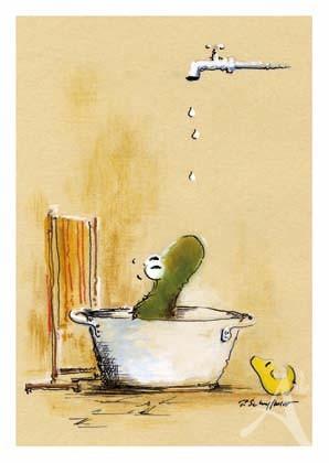 """Postkarte """"Heute wird gebadet"""""""