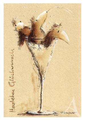 "Postkarte ""Sektlaune"""