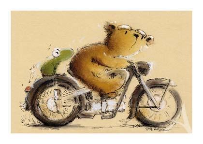 "Postkarte ""Ausflug mit dem Motorrad"""