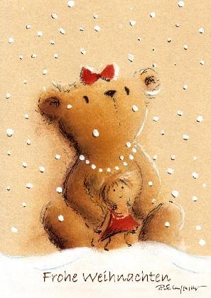 """Postkarte """"Frohe Weihnachten (Bärenmädchen)"""""""
