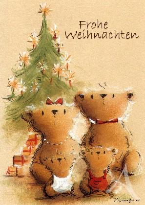 """Postkarte """"Frohe Weihnachten (Bärenfamilie)"""""""